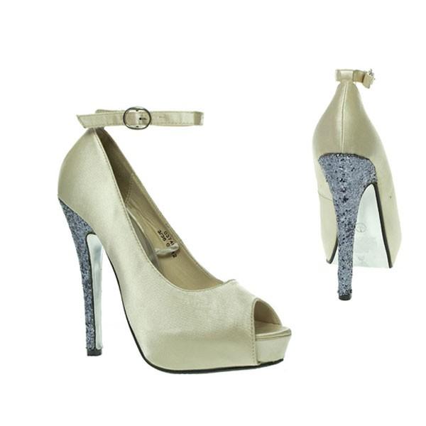 Creme Satin Glitter Peep Toes ivory brautschuhe bridal shoes hochzeitsschuhe wedding shoes