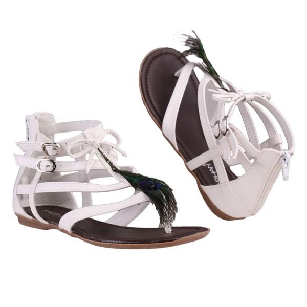 Weiße Feder Sandalette