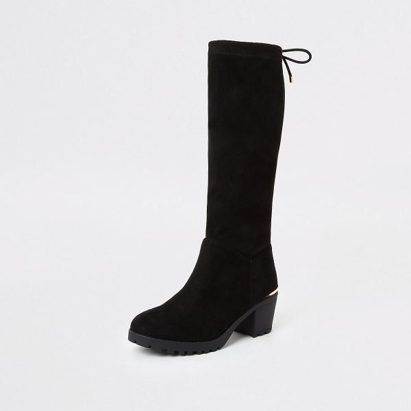 DS158 schwarze-stiefel-mit-blockabsatz-faux wildleder-diamondshoes-untergrößen