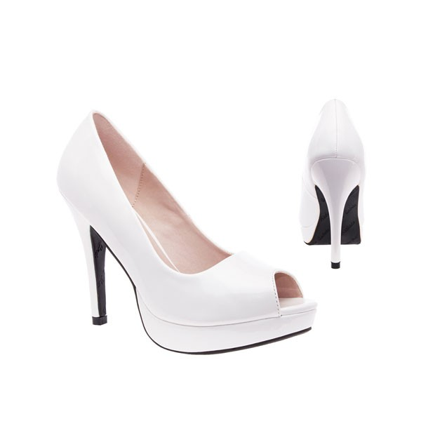 AM5003 Andres Machado weiss Lack Peep Toes Pumps High Heels Brautschuhe bridalshoes weddingshoes hochzeitsschuhe