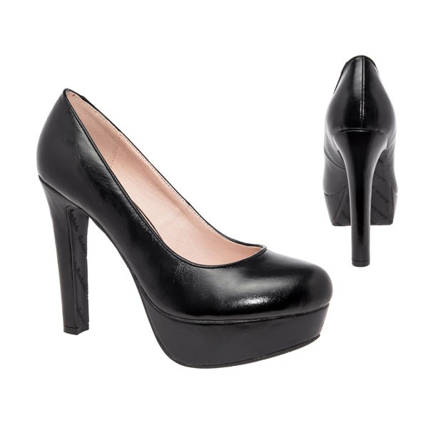 AM5051 Andres Machado Schwarze Plateau Pumps High Heels