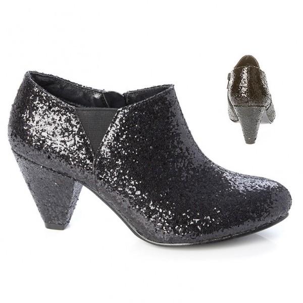 Schwarze Glitter Ankle Boots