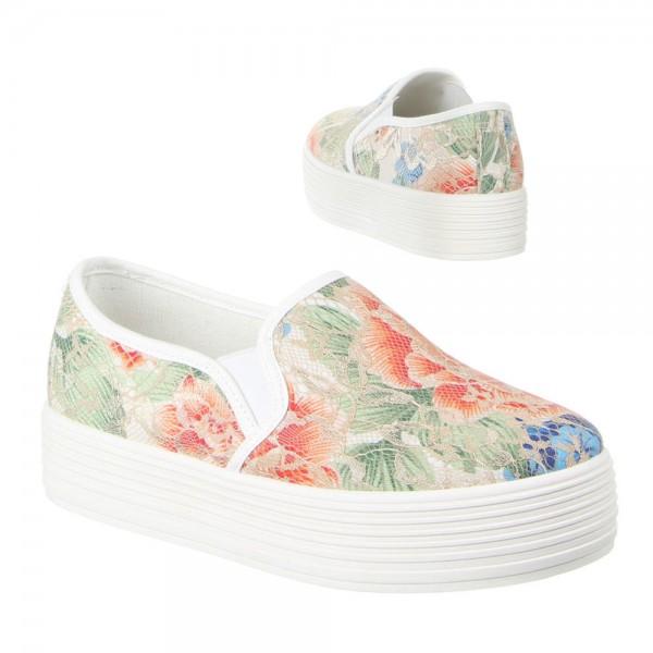 Beige Blumen Plateau Slipper Sneaker Turnschuhe Halbschuhe