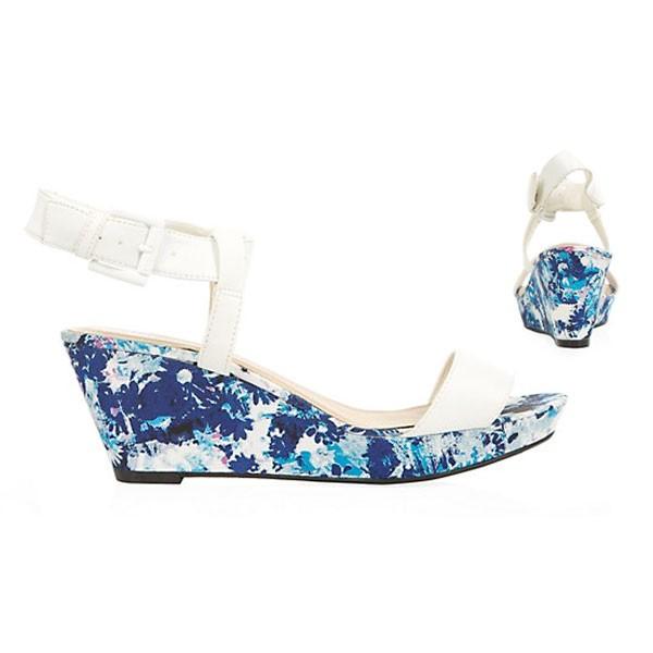 Weisse Floral Blumen Sandalen Sandaletten Wedges Keilabsatz