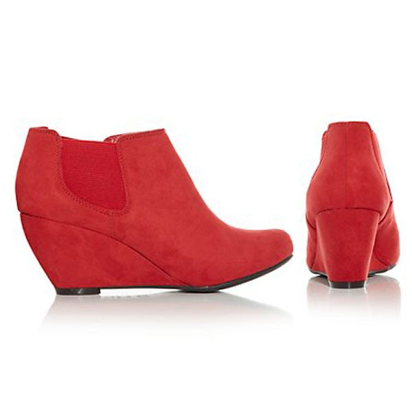 Rote Keilabsatz Wedges Ankle Boots Stiefeletten Faux Wildleder