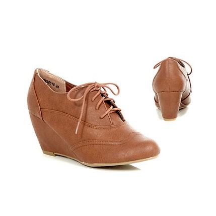 Braune Schnür-Pumps Keilabsatz Ankle Boots Stiefeletten