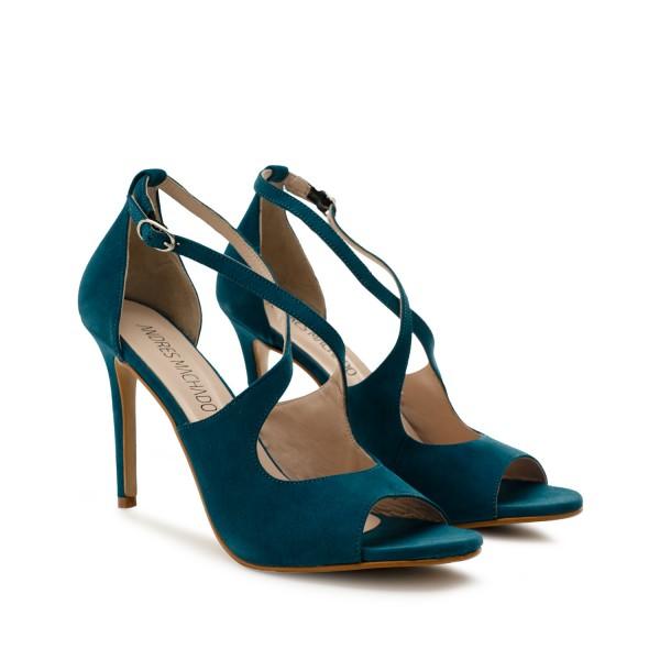 blaue wildleder velourleder leder pumps high heels stilettos sandalen andres Machado diamond shoes
