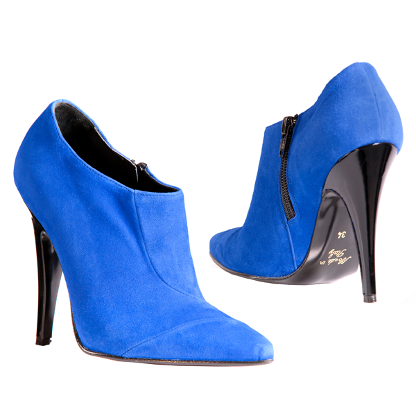 Blaue Wildleder Ankle Boots