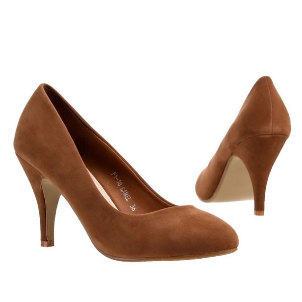 Camel Faux Wildleder Pumps