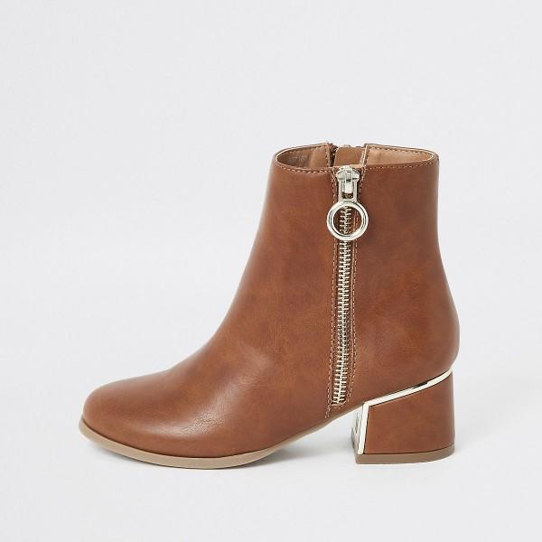 DS156 braune-stiefeletten-mit-blockabsatz-kunstleder diamond Shops untergrößen boots