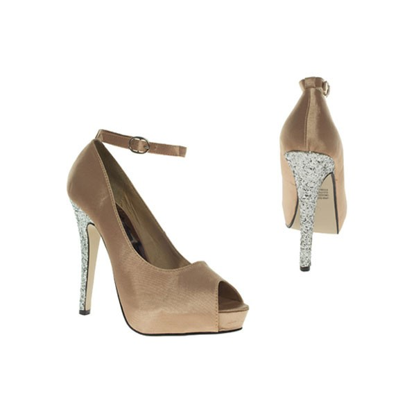 Beige Satin Peep Toes  nude brautschuhe bridal shoes hochzeitsschuhe wedding shoes