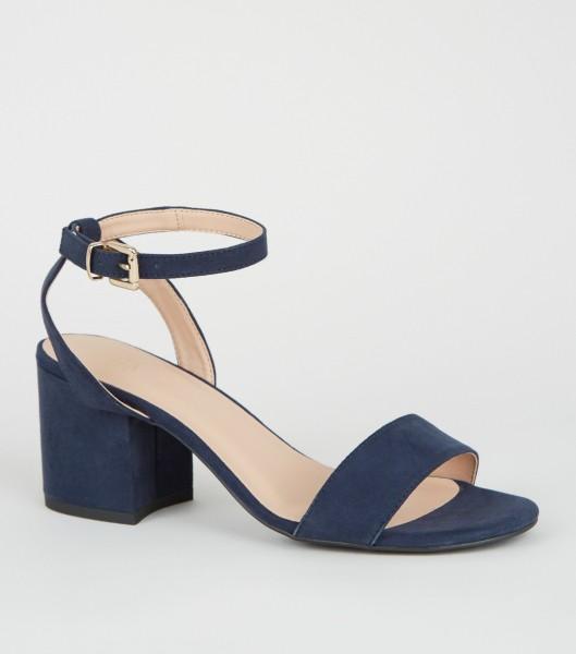 Blaue Faux Wildleder Sandalen Sandaletten Slingback, blaue Schuhe