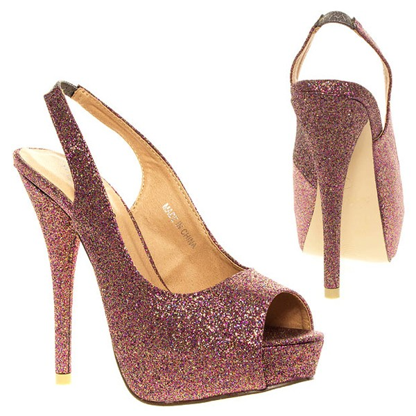 Rosa Glitter Sandalen Stilettos High Heels