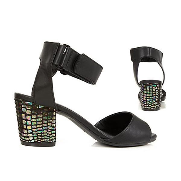 Schwarze Sandalen Sandaletten Blockabsatz