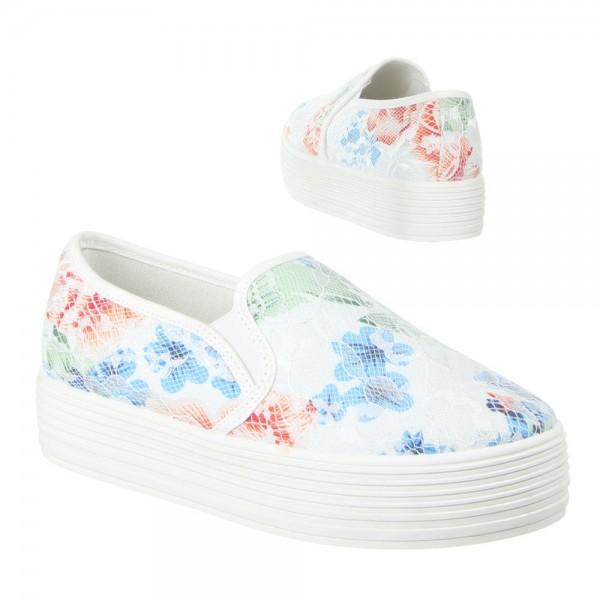 Weiße Blumen Plateau Slipper