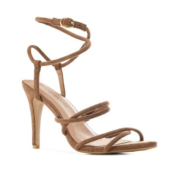 AM5509 Andres Machado braune beige Fessel Sandalen Stilettos High Heels Pumps Untergrößen