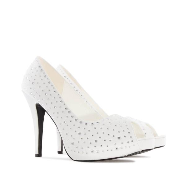 AM239 Andres Machado strass Peeptoes Pumps High Heels Sandalen Brautschuhe Hochzeitsschuhe bridalshoes weddingshoes