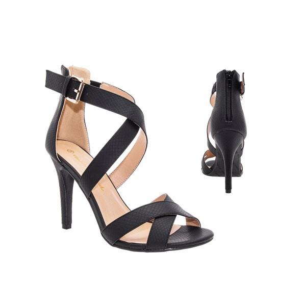 AM5043 Andres Machado schwarze Stilettos Sandalen High Heels