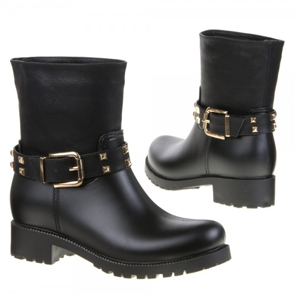 Schwarze Nieten Biker Boots