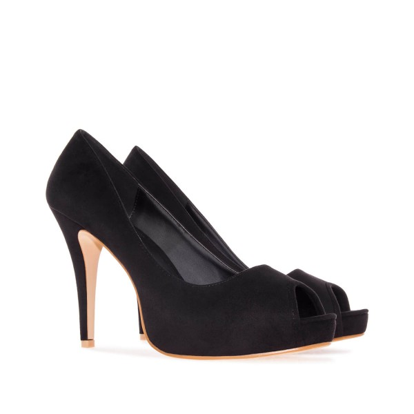 AM239 Andres Machado schwarze Faux wildleder Peep toes Pumps High Heels