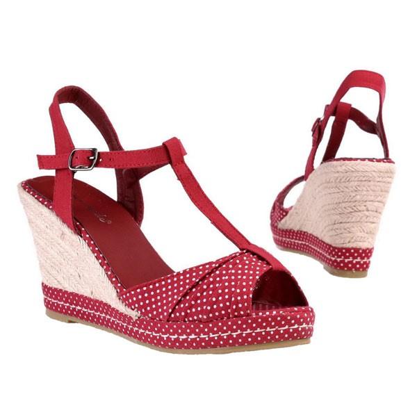Rote Keilabsatz Sandaletten