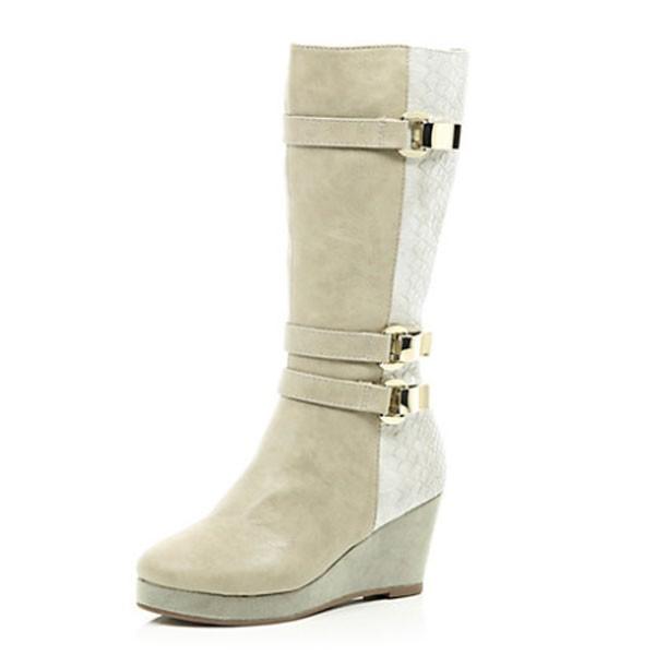 DS135 Creme Stiefel im Kroko-Look diamondshoes boots untergrößen