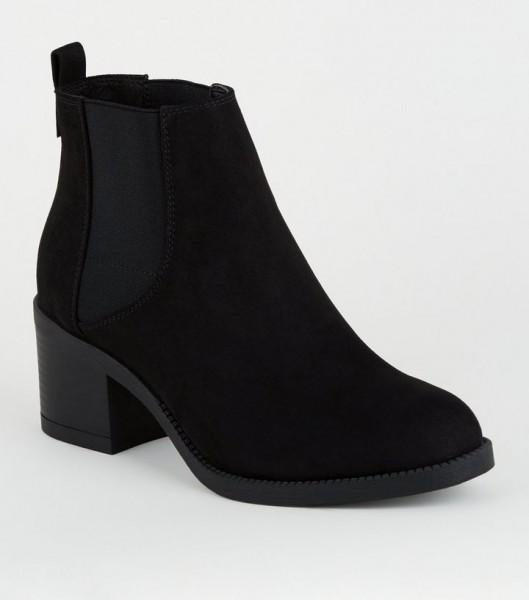 DS153 black-stiefeletten-mit-blockabsatz-faux wildleder ankle boots diamond shoes untergröße