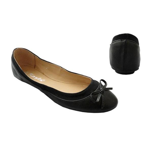 Schwarze Ballerinas mit Zierschleife