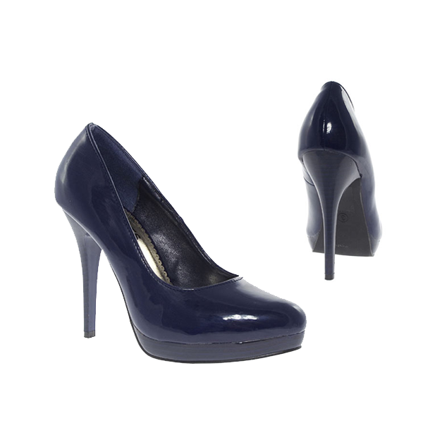 Marine Navy Blaue Lack Pumps High Heels