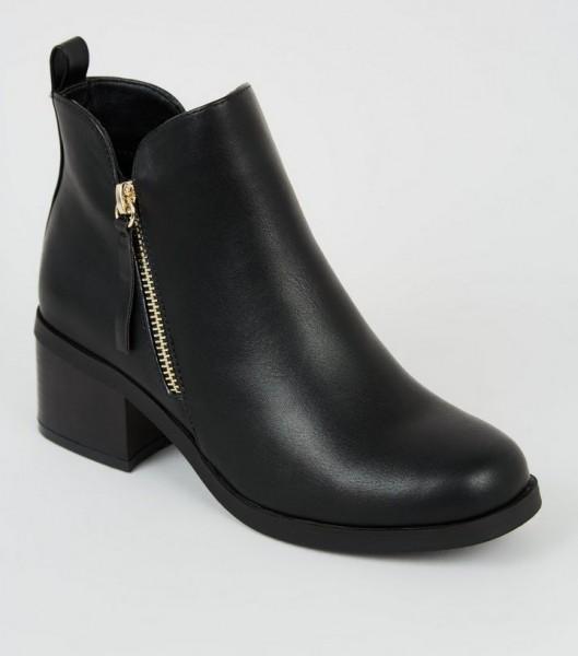 DS154 schwarze-stiefeletten-mit-blockabsatz-kunstleder diamond Shops untergrößen boots