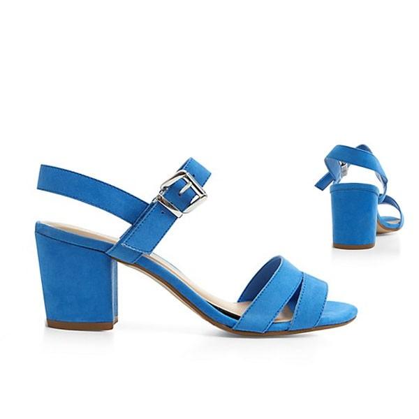 Blaue Faux Wildleder Sandalen Sandaletten Slingback