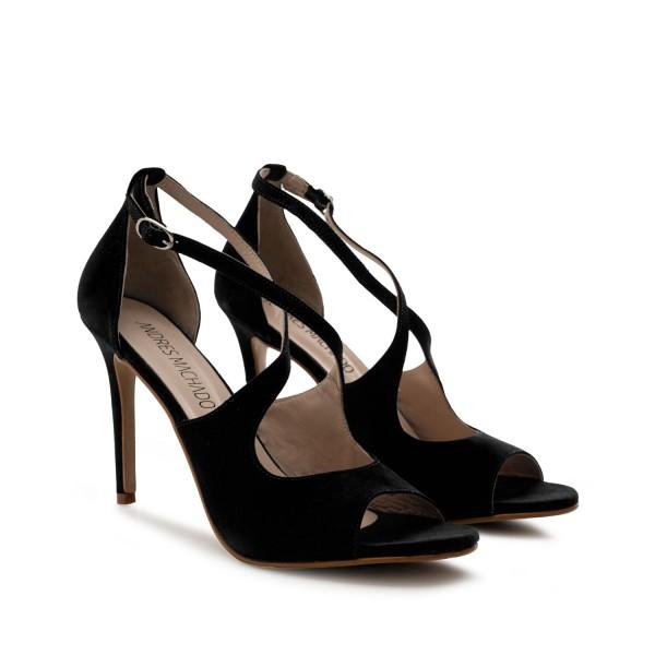 schwarze wildleder velourleder leder pumps high heels stilettos sandalen andres Machado diamond shoes