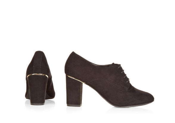 Schwarze Faux Wildleder Schnür-Pumps Ankle Boots Stiefeletten