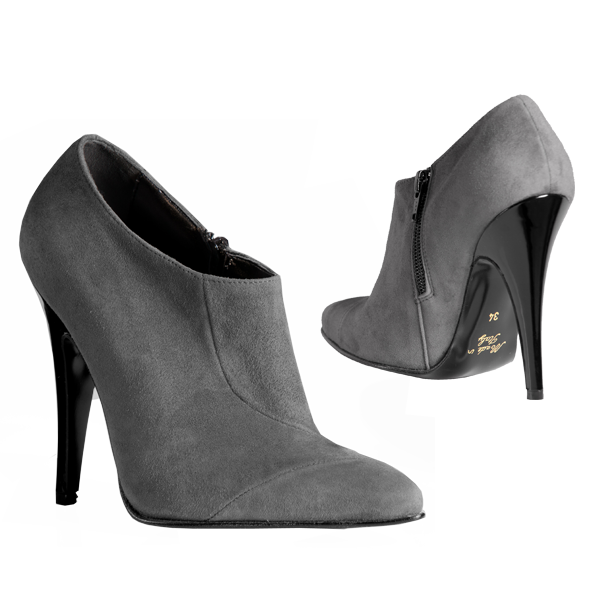 Graue Wildleder Ankle Boots