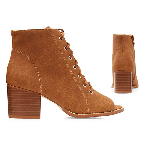 Braune Military Faux Wildleder Ankle Boots Stiefeletten Booties Peep Toes
