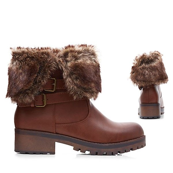 Braune Kuschel-Boots Stiefeletten Booties