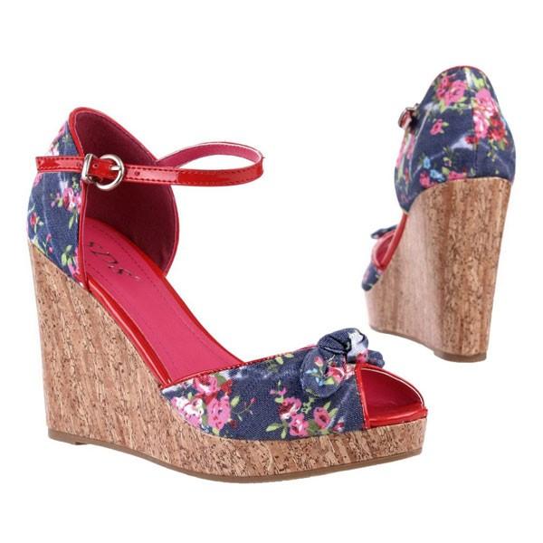 Blaue Blumenprint Keilabsatz Sandaletten