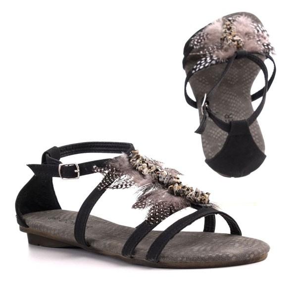Schwarze Feder-Sandalen