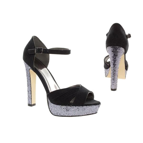 Schwarze Samt Sandalette, glitter shoes, Glitzer High Heels