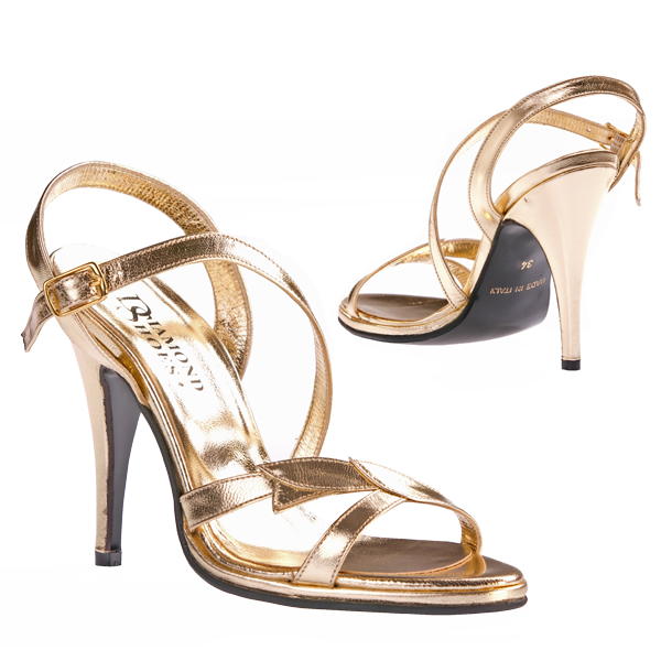 Goldene High Class Leder Stilettos
