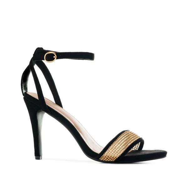 AM5508 Andres Machado schwarze Stilettos Sandalen High Heels braut brautschuhe hochzeitsschuhe