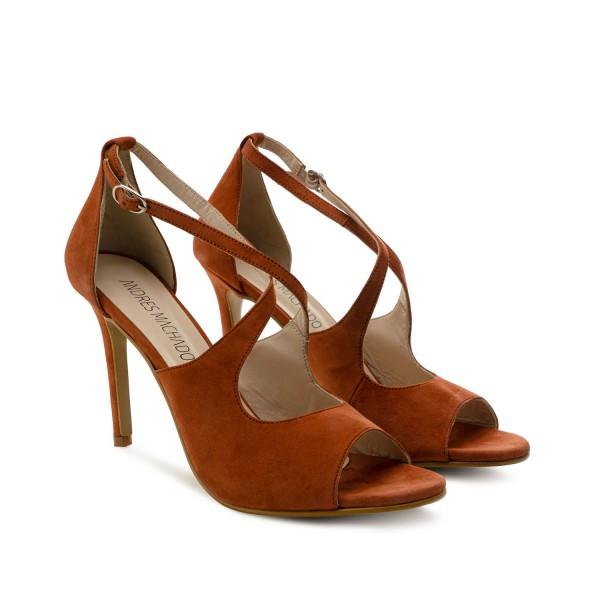 braune wildleder velourleder leder pumps high heels stilettos sandalen andres Machado diamond shoes