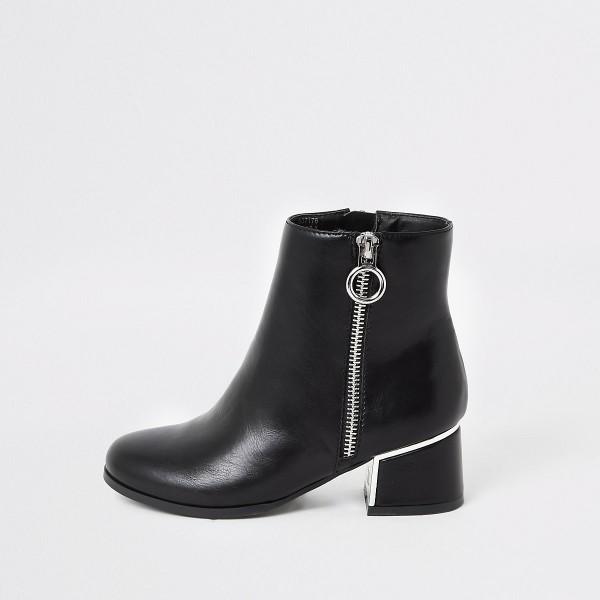 DS156 schwarze-stiefeletten-mit-blockabsatz-kunstleder diamond Shops untergrößen boots