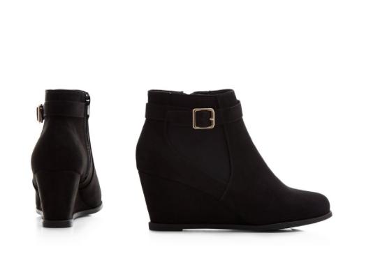 Schwarze Faux Wildleder Wedges Keilabsatz Booties Ankle Boots stiefeletten