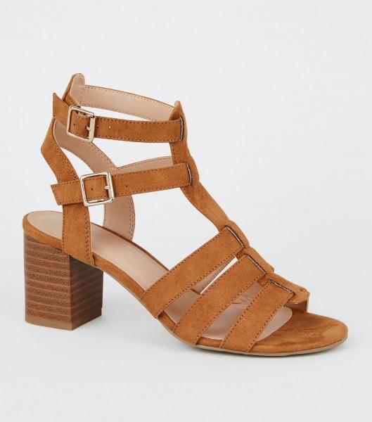 Braune Riechen Sandalen Sandaletten Gladiator High Heels